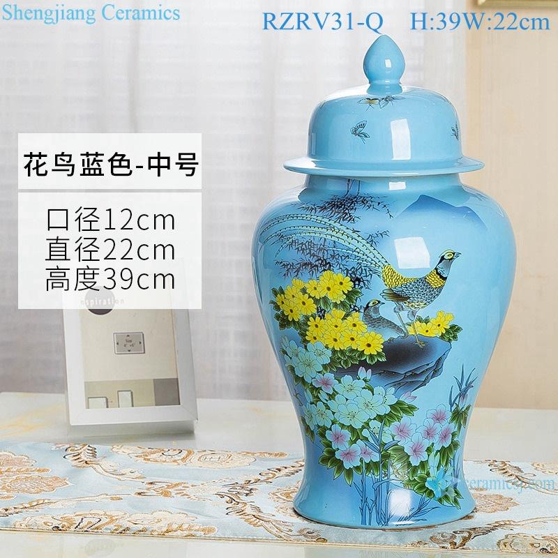 Color glaze blue decorative flower bird ceramic general jar RZRV31-Q