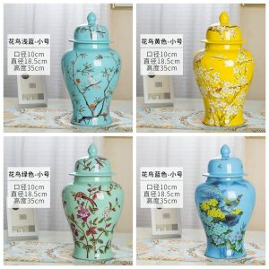 RZRV31 Series Color glaze decorative flower bird ceramic general jars