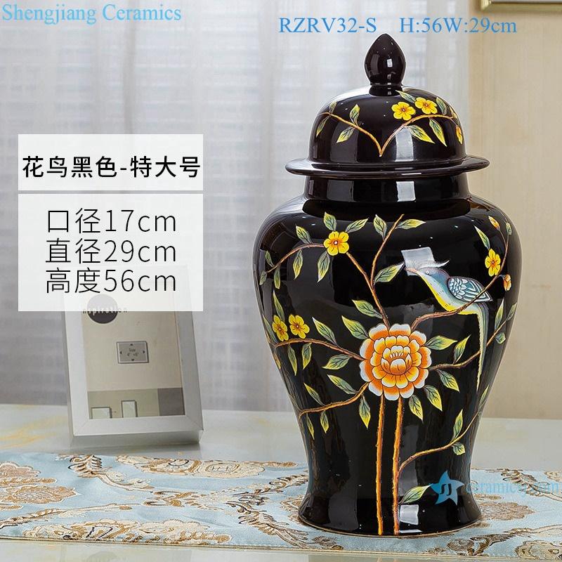 General pot color glaze black decorative ceramic RZRV32-S
