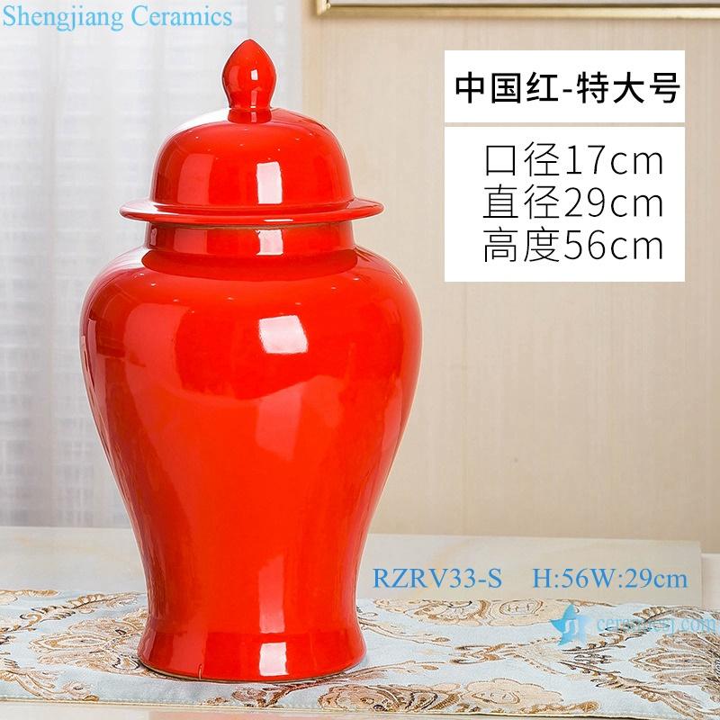 General pot ceramic decoration red monochrome glaze RZRV33-S