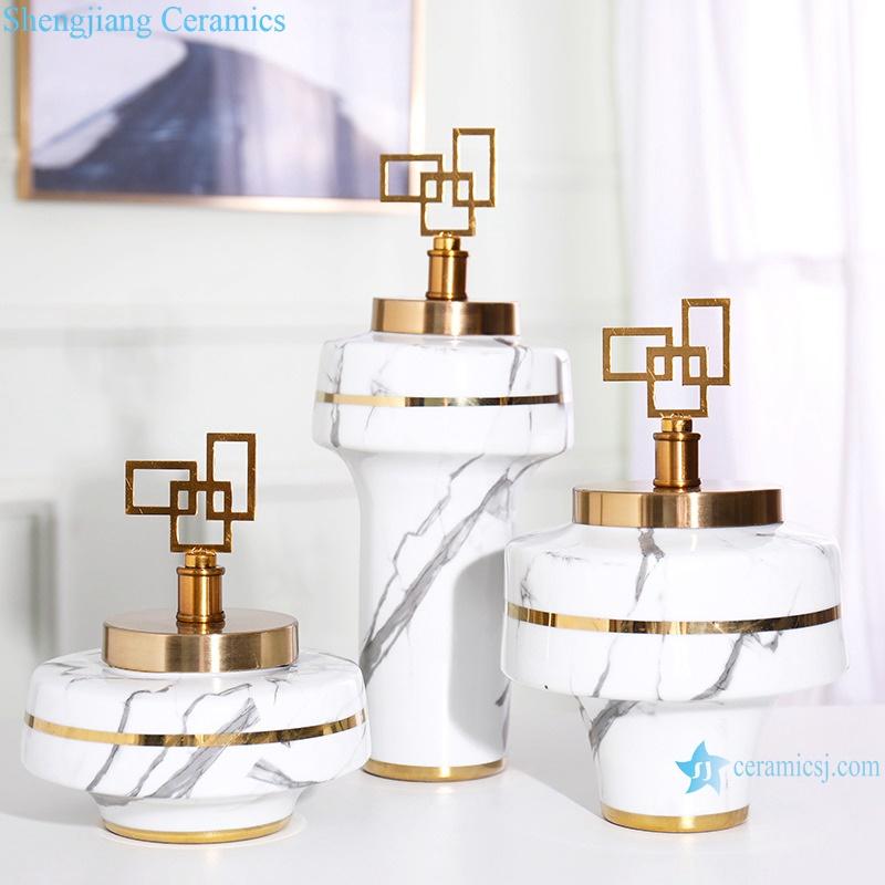 White crafts decorate ceramic vases RZRV35-A-B-C