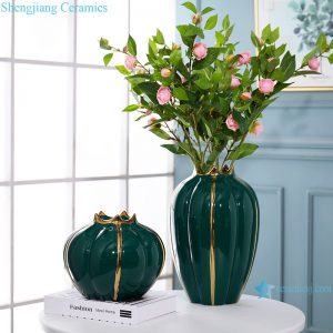 RZRV36-A-B Light luxury gold-plated decorative ceramic vase