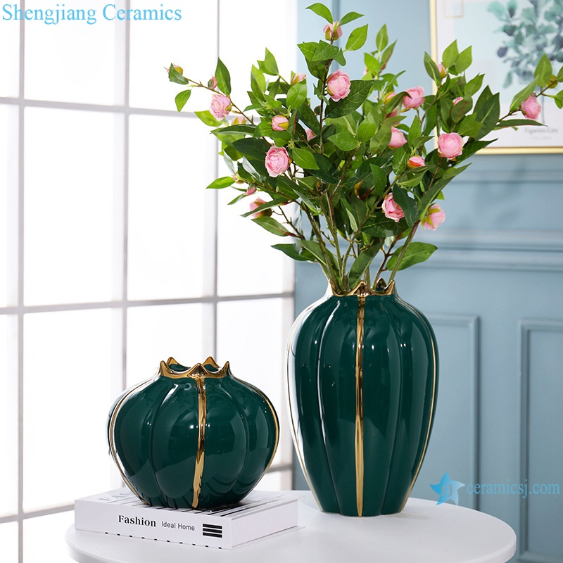 Light luxury gold-plated decorative porcelain vase RZRV36-A-B