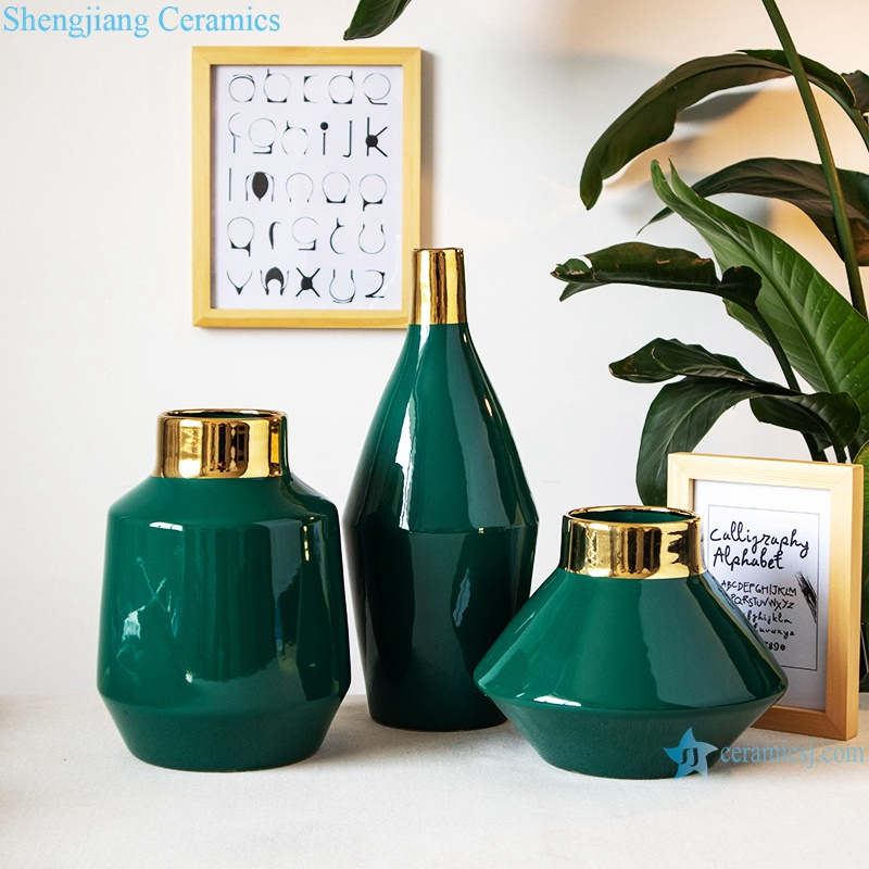 Green wide mouth gilt ceramic vases RZRV39-A-B-C
