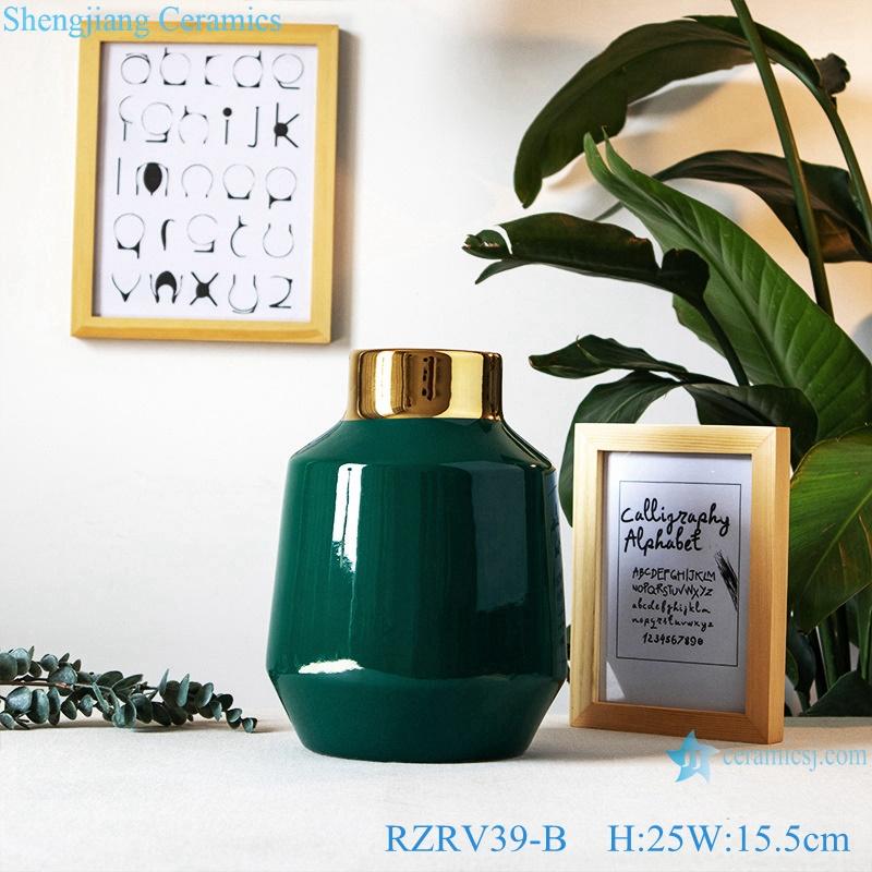 Green wide mouth gilt ceramic vase RZRV39-B