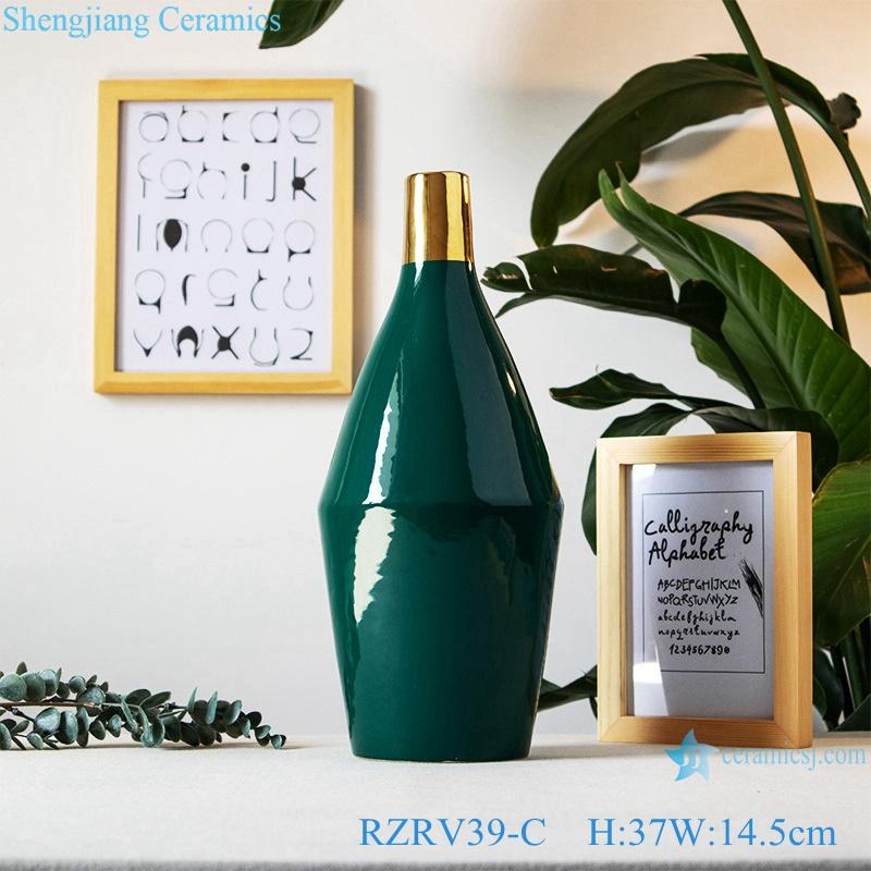 Green wide mouth gilt ceramic vases RZRV39-C