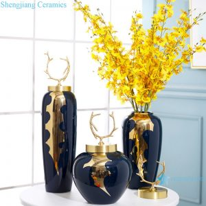 RZRV40-A-B-C New Chinese blue light luxury gold-plated ceramic vase