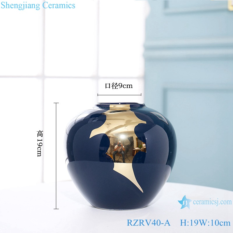 New Chinese blue gold-plated ceramic vase RZRV40-A
