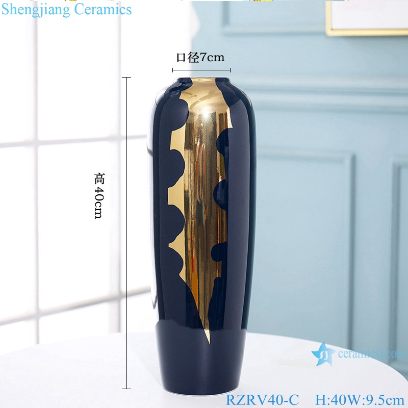 New Chinese blue light luxury gold-plated ceramic vases RZRV40-C