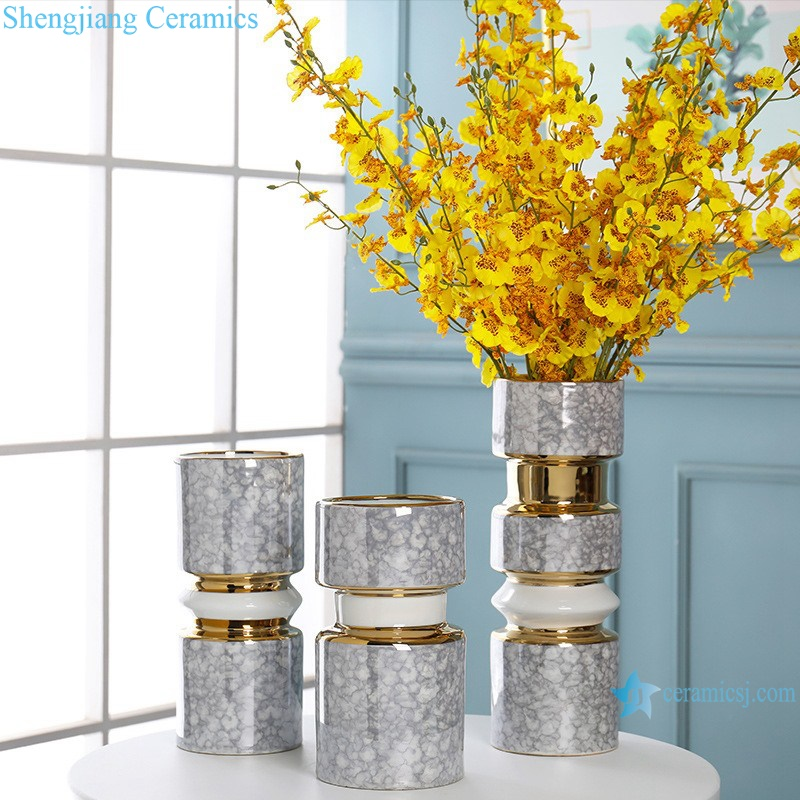 Gold-plated dry-flowered porcelain vases RZRV41-A-B-C