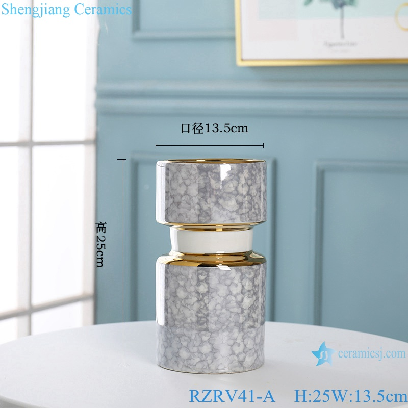 Gold-plated dry-flowered porcelain vases RZRV41-A