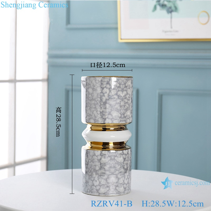 Gold-plated dry-flowered porcelain vases RZRV41-B