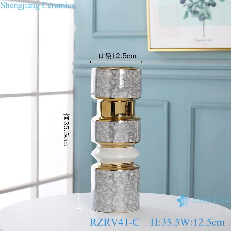 Gold-plated dry-flowered porcelain vases RZRV41-C