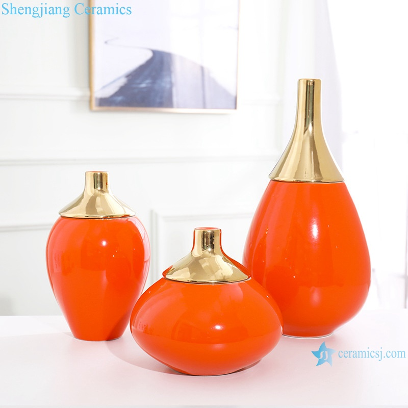 Gold-plated vases in red monochrome glaze RZRV42-A-B-C