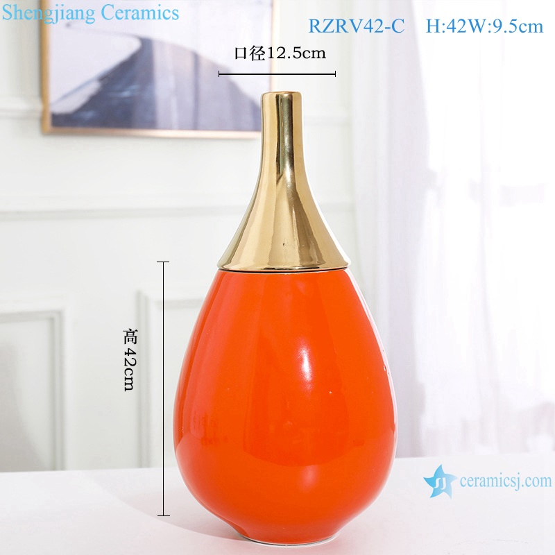 Gold-plated vases in red monochrome glaze RZRV42-C