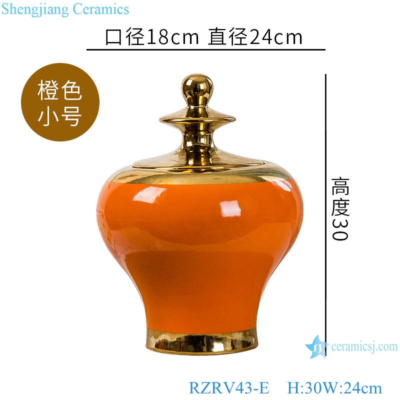 Colour glazed red general pots decoration gold plated cover RZRV43-E