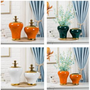 RZRV43 Series Colour glazed general pot decoration gold plated cover