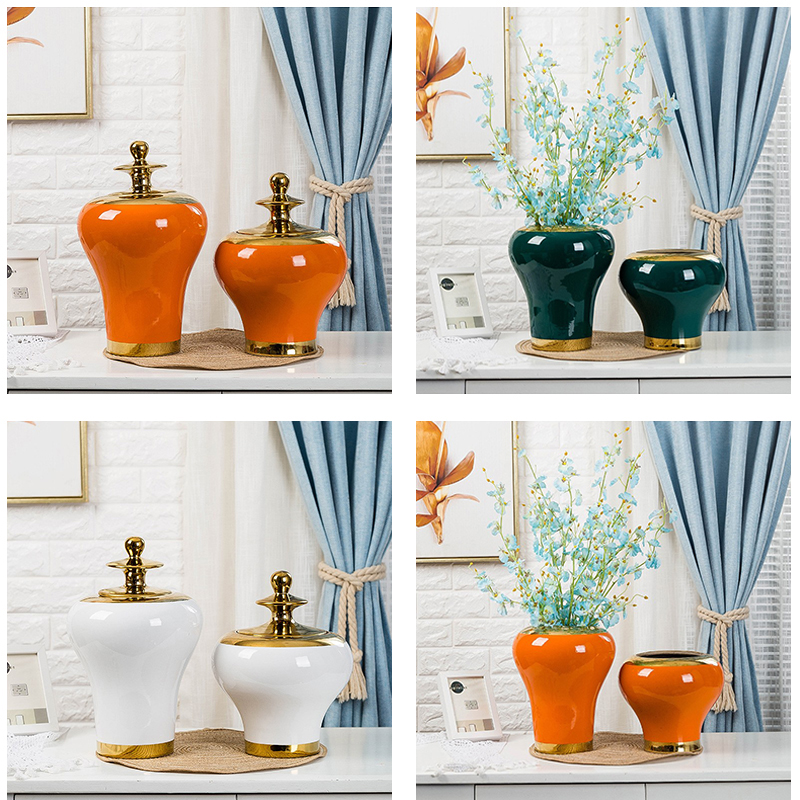 Colour glazed general pots decoration gold plated cover RZRV43 Series