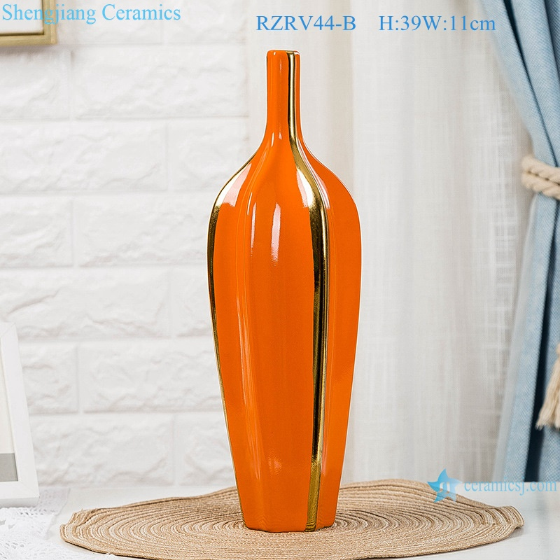 Color glaze red creative home furnishings gold plated vases RZRV44-B