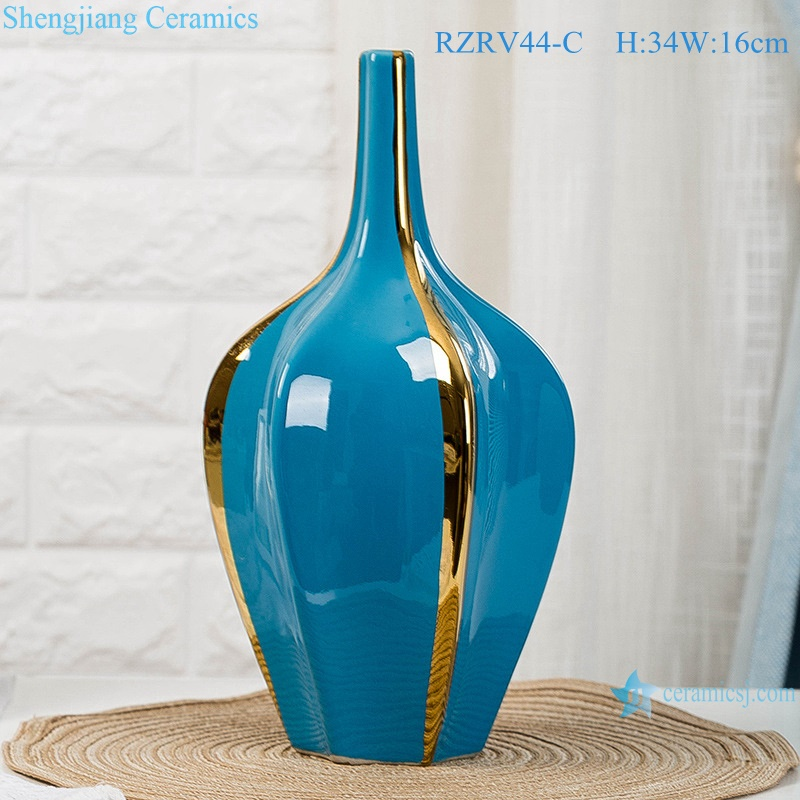 Color glaze blue creative home furnishings gold plated vases RZRV44-C