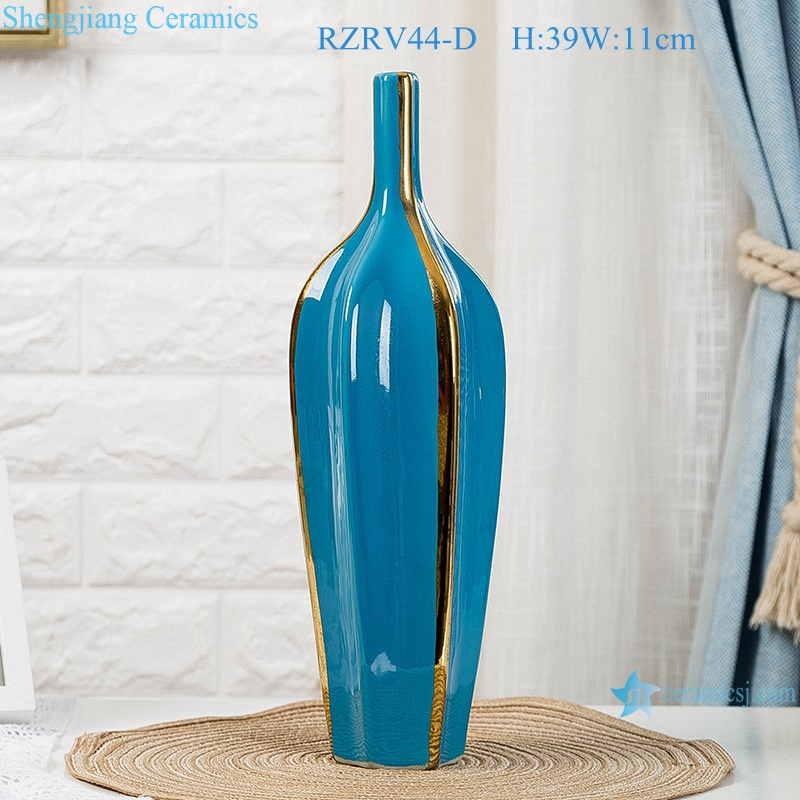 Color glaze blue creative home furnishings gold plated vases RZRV44-D