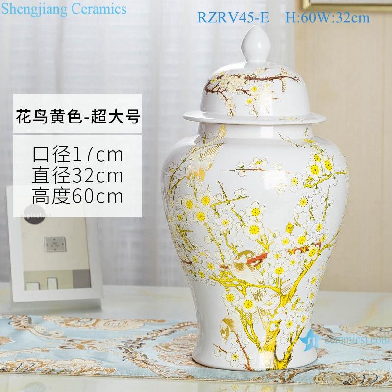 General pot color glaze white flower decorative ceramic RZRV45-E