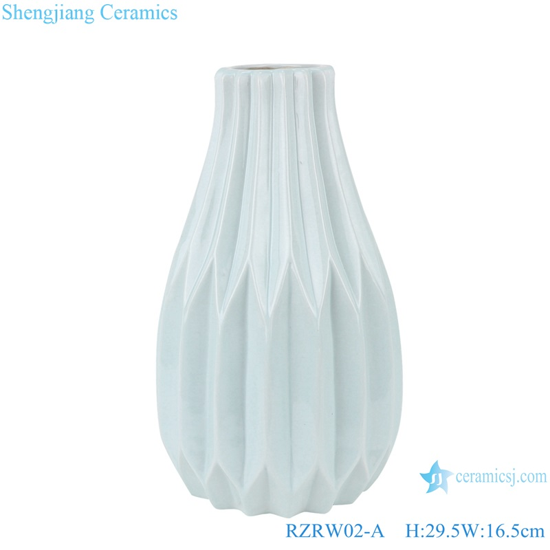 Color glaze dry flower household decoration porcelain vase blue RZRW02-A