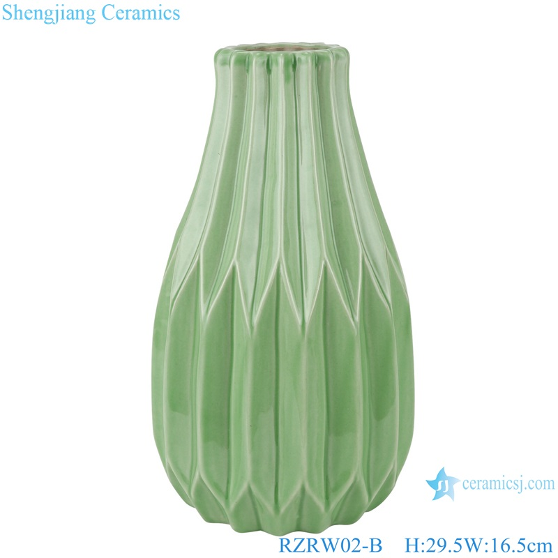 Color glaze dry flower household decoration porcelain vase green RZRW02-B