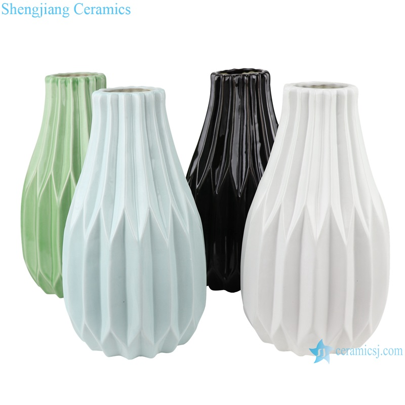 Color glaze dry flower household decoration ceramic vase RZRW02-A-B-C-D