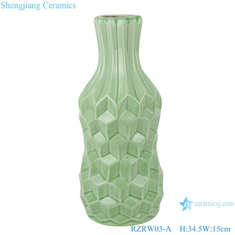 Creative arts and crafts plaid pattern ceramic furnishing vases green RZRW03-A