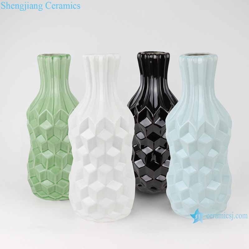 Creative arts and crafts plaid pattern ceramic furnishing vases RZRW03-A-B-C-D