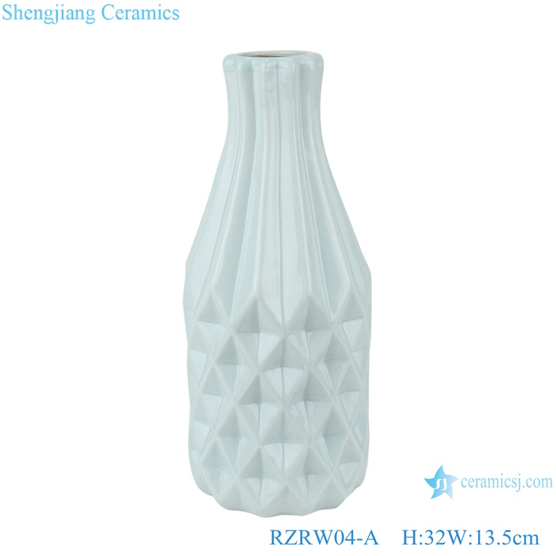 Color glaze simple rhombic pattern ceramic vase decoration blue RZRW04-A