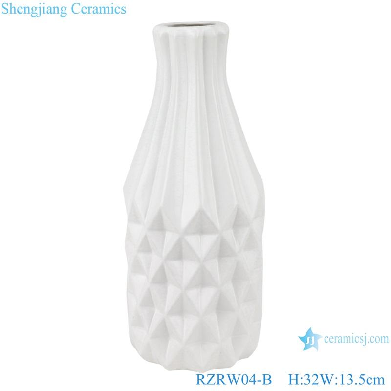 Color glaze simple rhombic pattern ceramic vase decoration white RZRW04-B