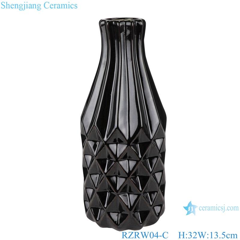 Color glaze simple rhombic pattern ceramic vase decoration black RZRW04-C