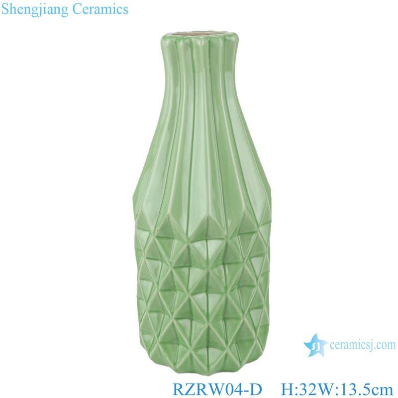 Color glaze simple rhombic pattern ceramic vase decoration green RZRW04-D