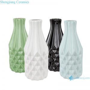 RZRW04-A-B-C-D Color glaze simple rhombic pattern ceramic vase decoration