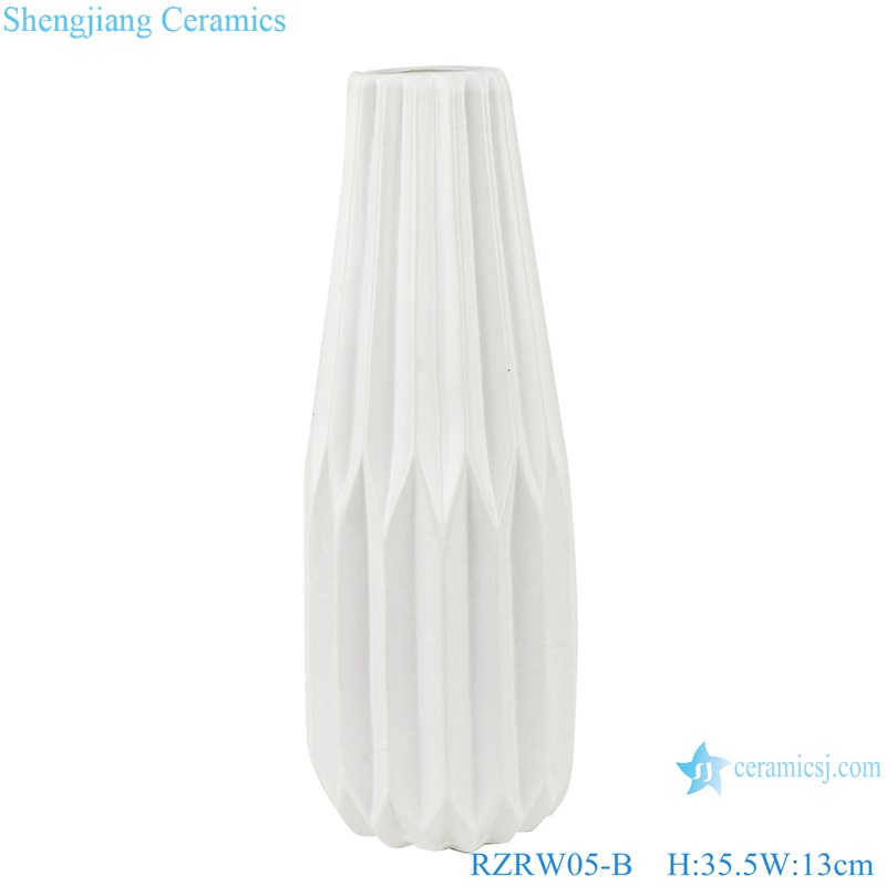 Abstract modern origami porcelain vase decoration white RZRW05-B