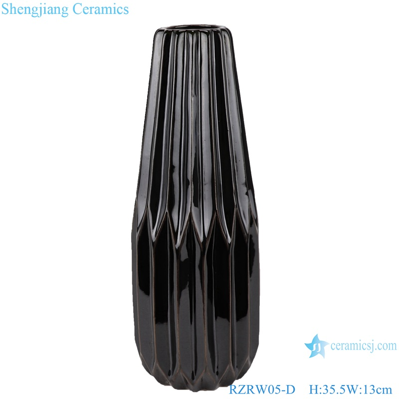Abstract modern origami porcelain vase decoration black RZRW05-D