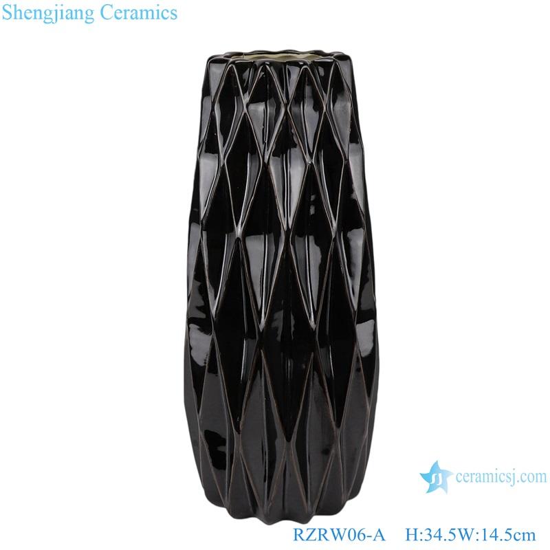 Color glazed antique flower arrangement cereamic vases black RZRW06-A