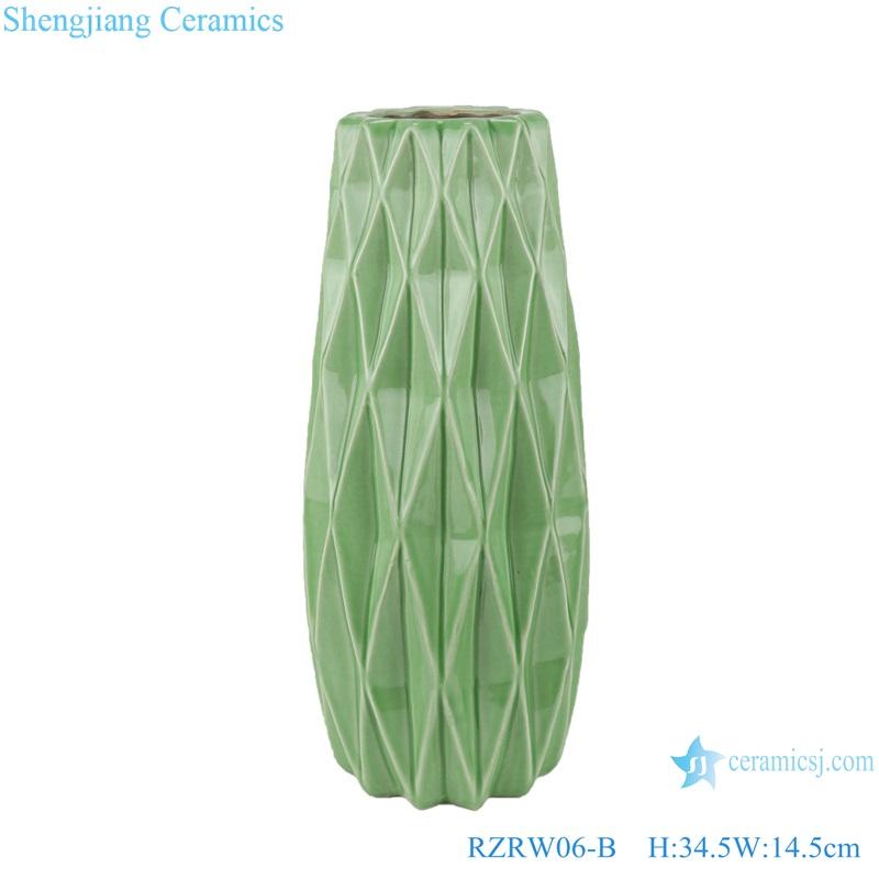 Color glazed antique flower arrangement cereamic vases green RZRW06-B