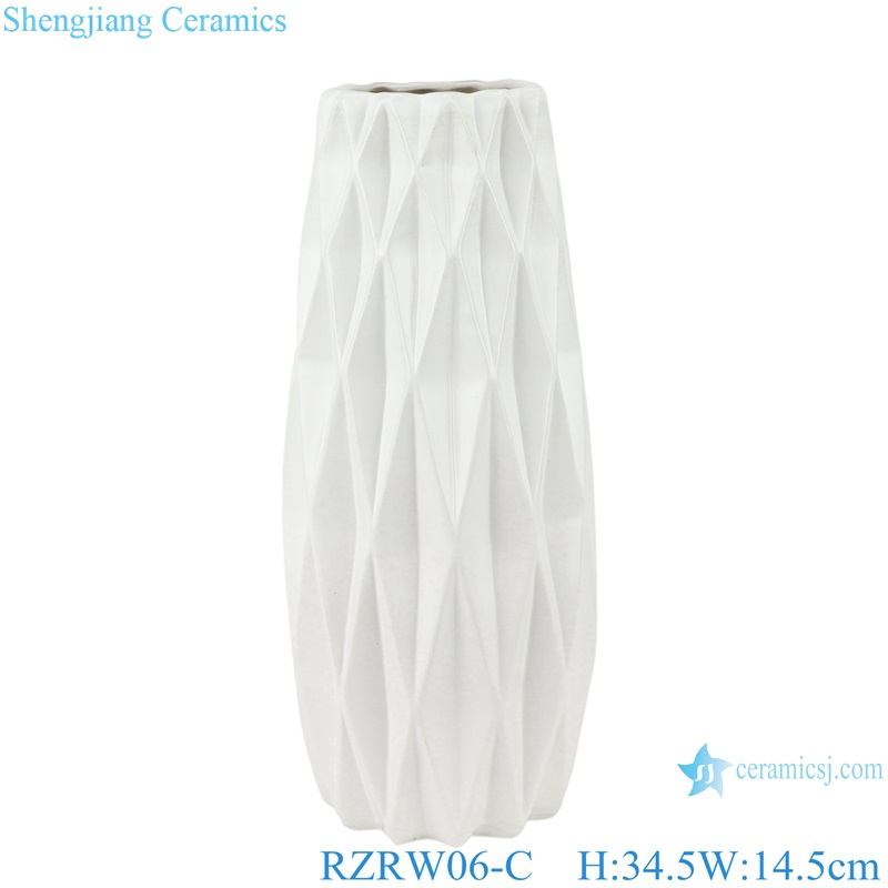 Color glazed antique flower arrangement cereamic vases white RZRW06-C