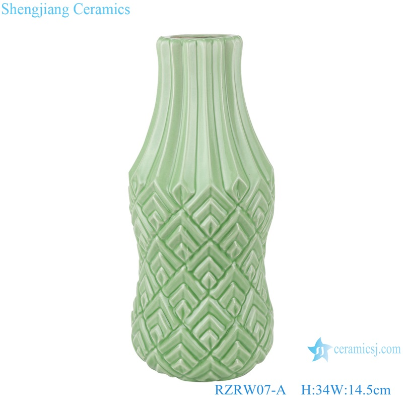 Color glaze simple design porcelain furnishing vases green RZRW07-A