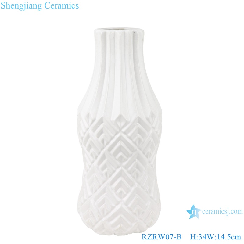 Color glaze simple design porcelain furnishing vases white RZRW07-B