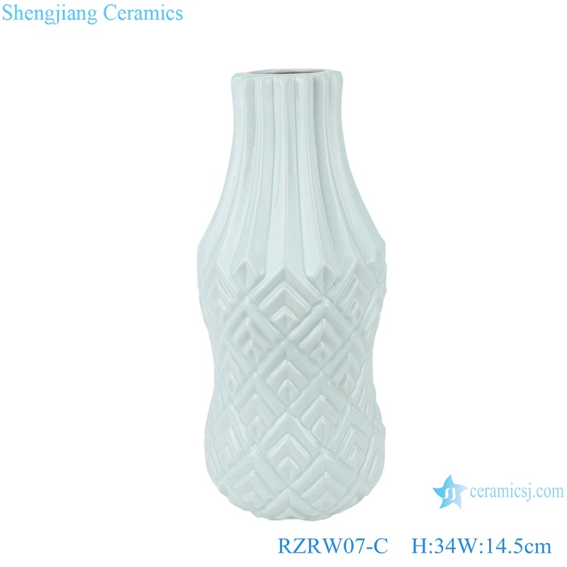 Color glaze simple design porcelain furnishing vases blue RZRW07-C