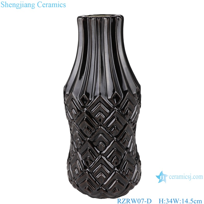 Color glaze simple design porcelain furnishing vases black RZRW07-D