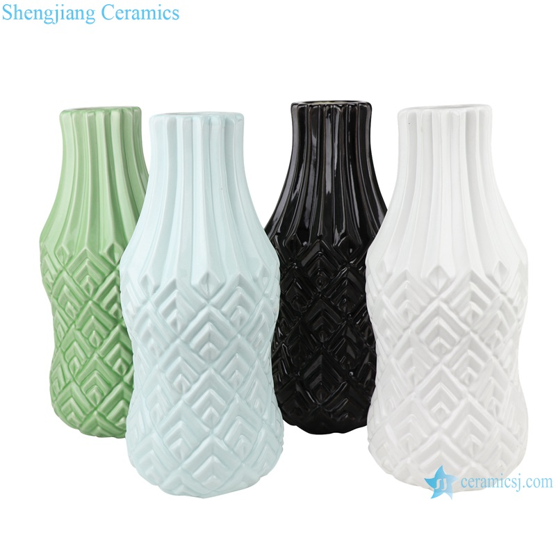 Color glaze simple design porcelain furnishing vases RZRW07-A-B-C-D