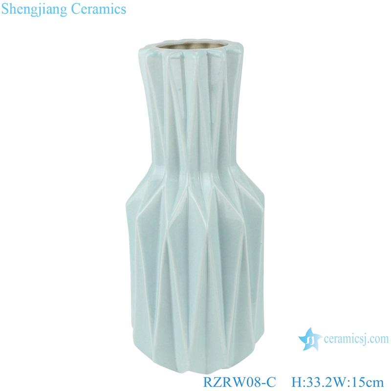 Color glaze simple origami ceramic flower arrangement vase blue RZRW08-C