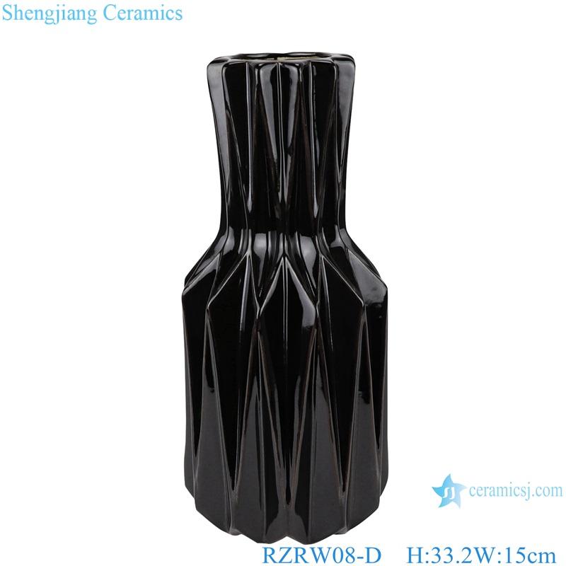 Color glaze simple origami ceramic flower arrangement vase black