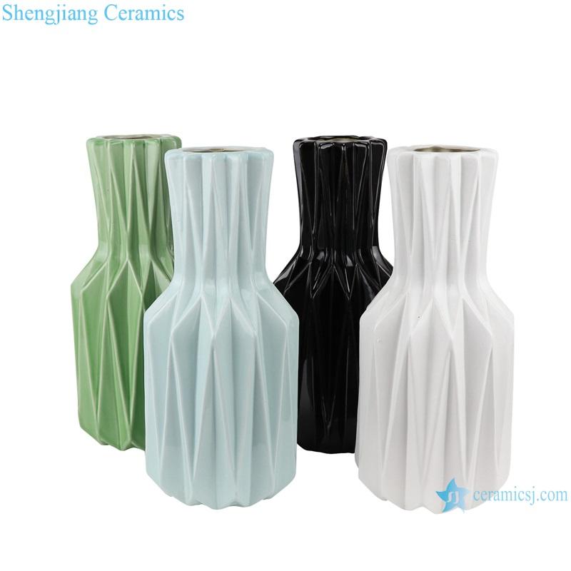 Color glaze simple origami ceramic flower arrangement vase RZRW08-A-B-C-D