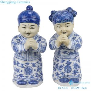 RYXZ19 blue and white boy ceramic